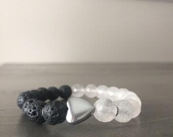 Heart bracelet- rose quartz and lava stone