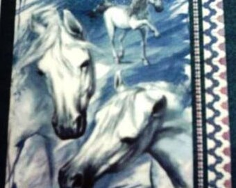 TOWEL in paper white horses on blue #AN120
