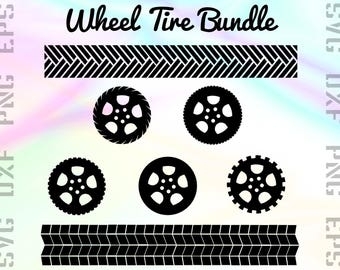 Wheel SVG Files - Tire Clipart - Tire Cricut Files - Wheel Dxf Files - Wheel Cut Files - Tyre Png - Tire Cutting Files - Svg, Dxf, Png, Eps