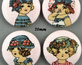 Buttons fabric - dolls - Paper Dolls - 26mm - (26-10)
