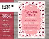 Cupcake Party Invite, Gir...