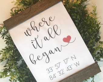 COORDINATES SIGN | farmhouse hanging sign | where it all began |