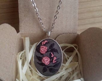 Embroidered pendant Pink rose necklace Embroidery jewelry Rose jewelry Floral pendant Wife pink jewelry Unusual present Anniversary gift Eco
