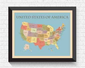 United States Map, US Map, US Poster, US Print, Map of United States, United States Print, United States Poster, United States Art