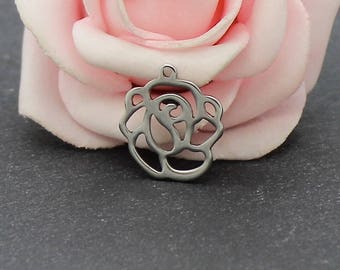 8 charms 16 x 15 mm BR738 stainless steel flower