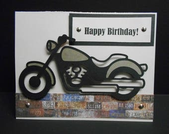 Handmade Motorcycle Birthday Card