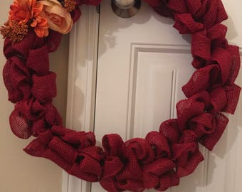 Fall red Burlap floral wreath