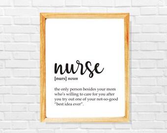 Funny nurse gift, funny nurse definition print, Nurse print, Co-worker print, Sarcastic work print, Funny gift for nurse,Gift idea for nurse