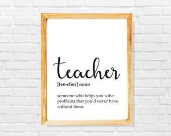 Funny teacher gift, funny teacher definition print, teacher print, Co-worker print, Sarcastic work print, Gift idea for teacher