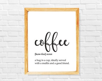 Funny coffee art print, Hug in a cup coffe poster, Coffee lover gift, Gift for coffee addict, Barista gift, Coffee shop decor, Coffee print