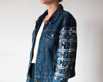Vintage denim jacket with handmade woven structure sleeve