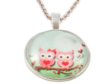 Necklace pendant round cabochon child * little owls in love *.