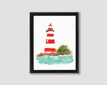 Watercolor Art Print, Lighthouse, Wall Decor, Contemporary Art, Original Art, Watercolor Painting, Art Print