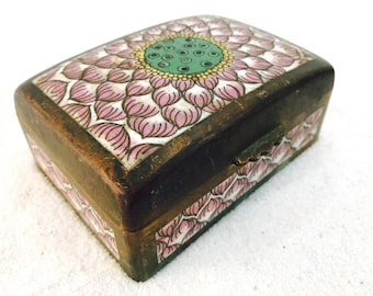 Vintage Brass Rectangular Jewel Box with Unique Pattern | Indian Boho Style | Free Shipping