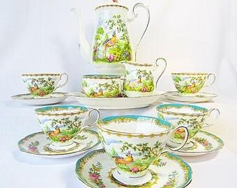 Vintage Royal Albert, Bone China England, ''Chelsea Bird'' Porcelain Set with Beautiful decor