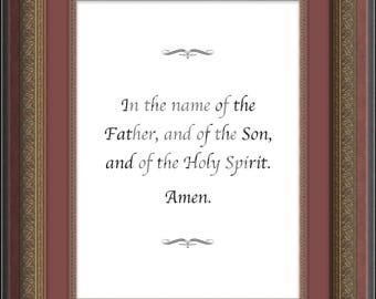Sign of The Cross, Christian Prayer Print, Religious Wall Art, Catholic Print, Confirmation Gift, Religious Gift, Wall Print