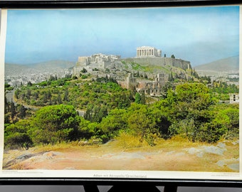 vintage wall chart, landscape, lining room, Athens with acropolis, Greece