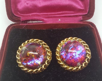 Beautiful Vintage Large Foiled Glass Earrings