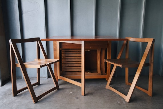 Danish Modern Folding Leaf Dining Table With Chair Storage
