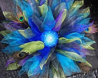 Beautiful deco mesh wreath wall hanger dahlia flower peacock