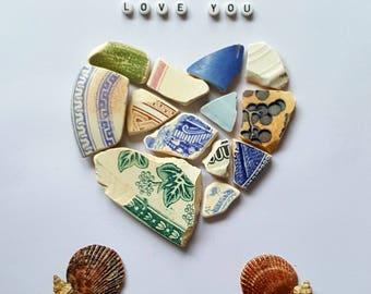 Cornish Pebble Sea Glass Sea Pottery Love Heart Valentines Unique Handmade Gift Present