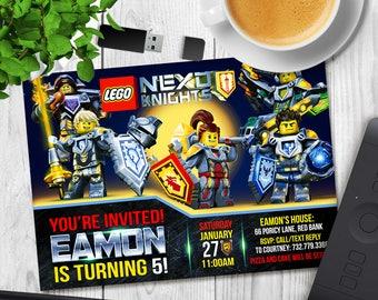 Lego Nexo Knights Invitation, Lego Nexo Knight Birthday, Knight Party, Lego Invitations, Personalized Invite Card, Printable Digital Invites