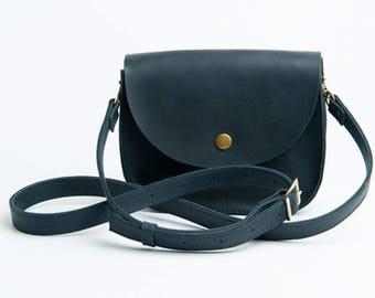 Blue Shoulder Bag Natural Leather Bag Crossbody Bag Shoulder Boho Bag Blue Leather Bag Shoulder Bag Shoulder Purse Mini purse