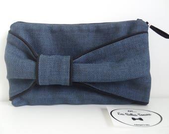 Blue linen bow clutch