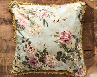 Vintage Fringe Chintz Floral Pillow