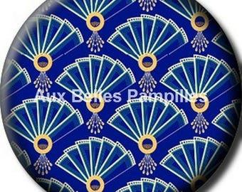 Round cabochon glue resin 25 mm - 20 (1246) years - blue, range, pattern