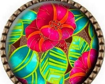 Tropical flower (805) - Cabochon bronze pendant