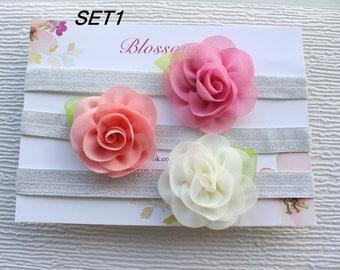 Baby headband SET, Baby Headband, Newborn headband, Baby hair bows, Flower Headband, Baby flower HeadBand, Floral HeadBand, Baby shower gift
