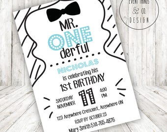 Mr. Onederful 1st Birthday Invitation *DIGITAL FILE*