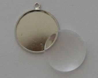 4 pieces: 2 brackets pendants 18mm Platinum + 2 clear glass cabochons