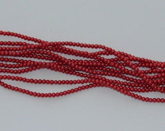 50 beads glass Pearl red/burgundy 3 mm