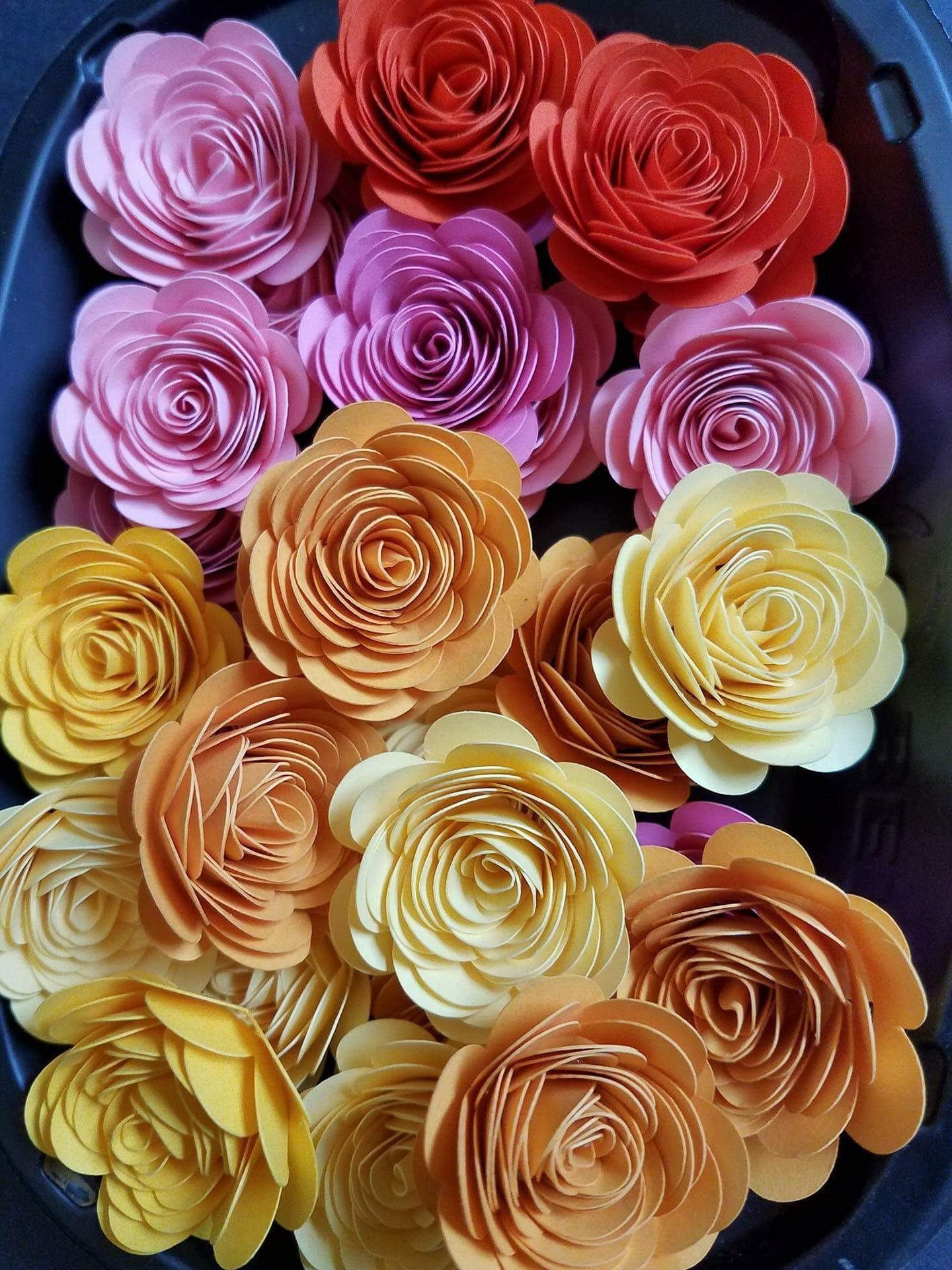 Set Of 25 Tiny Paper Flowers Rolled Paper Flowers Table Decor
