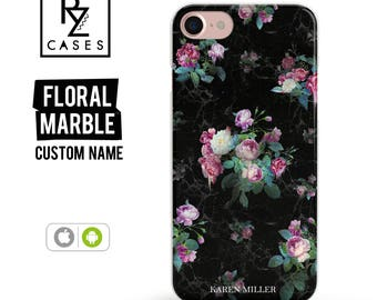 Floral Phone Case, Marble Case, iPhone 7 Case, iPhone 6s Case, Personalized Case, Custom, iPhone 5 Case, iPhone 6 Plus, Samsung Galaxy S7