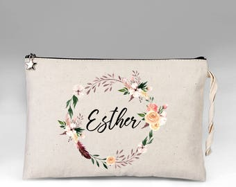 Personalized Makeup Bag, Makeup Bag, Floral Make Up Bag, Make Up, Bridesmaid Gift, Makeup Case, Cosmetic Bag, Makeup Organizer, Gift for Her
