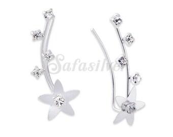 Flower Ear lines,Silver Crystal Ear Lines,Silver Ear Climbers,Minimalist Ear Pins