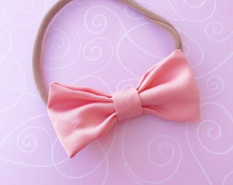 Pink and cream bows, pink fabric bows, cream fabric bows, light pink bow,