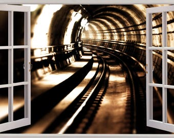 Tunnel wall mural etsy for Decor mural underground