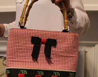 Red Checkers and Cherry Purse with Bamboo Handles