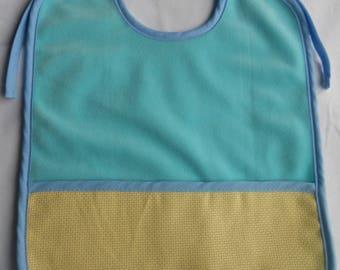 Blue sponge to the touch velvet bib