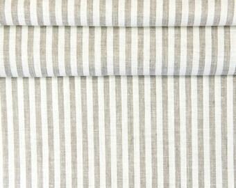 100% Linen Fabric Natural Stripes 1 meter