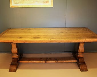 Square cut Refectory dining table.