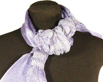 Japanese Silk Scarf - Vintage Lilac Silk Scarf, Silk Belt – Japanese Shibori Hand-dyed Silk – Silk Neck Scarf – Japanese Obi Silk Scarf