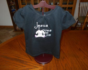 Jesus Loves Me Toddler Girl Shirt, Toddler Girl Shirt with Bunny, Machine Embroidery