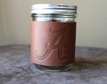 The Officially Licensed Alabama Bootlegger Custom Mason Jar Leather Jar Wrap