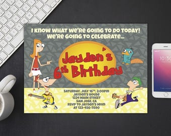 Phineas and Ferb Invitation, Phineas and Ferb Birthday, Phineas and Ferb Invites, Phineas and Ferb Party Printables, Phineas and Ferb Custom
