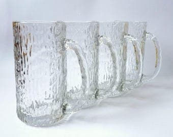 Vintage Ice Beer Mugs Set of 4 Drinking Glasses Clear Crystal Glass Barware